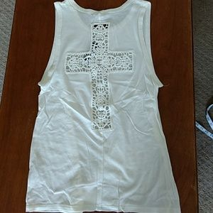Off white tank with cool lace cross detail NWT